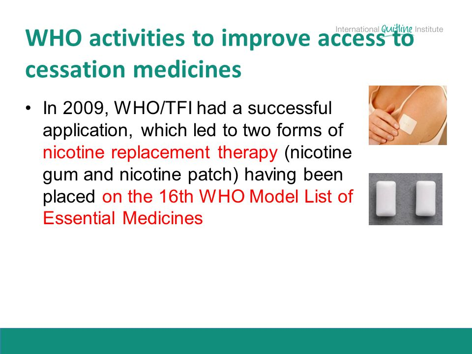 WHO activities to improve access to cessation medicines