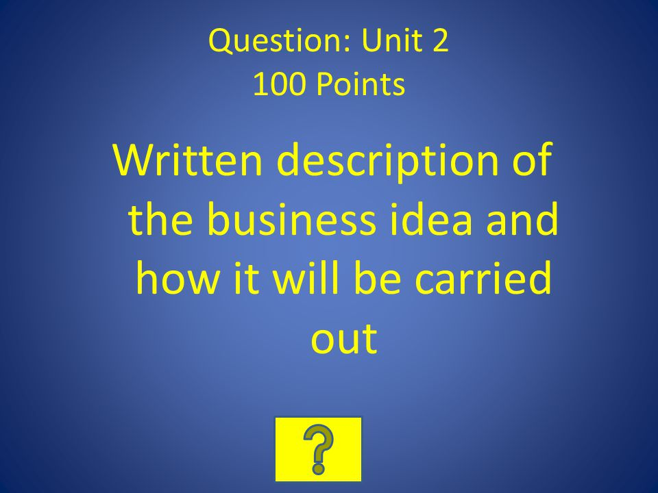 Question: Unit 2 100 Points Written description of the business idea and how it will be carried out