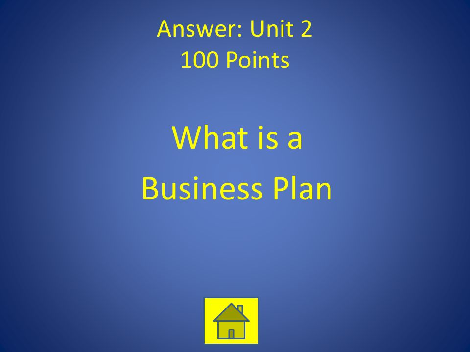 Answer: Unit 2 100 Points What is a Business Plan