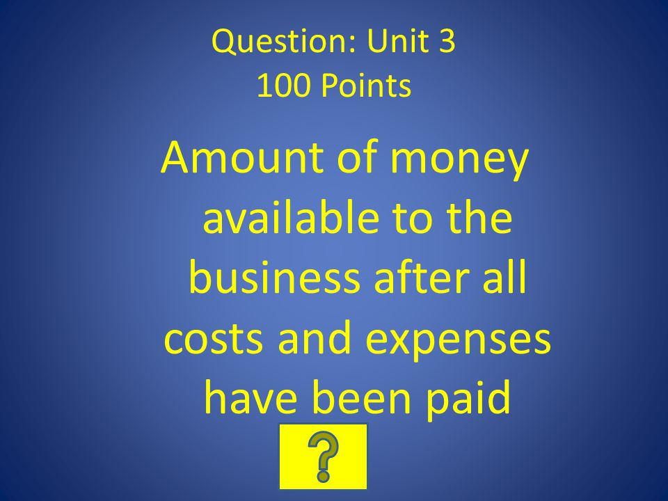 Question: Unit 3 100 Points Amount of money available to the business after all costs and expenses have been paid.