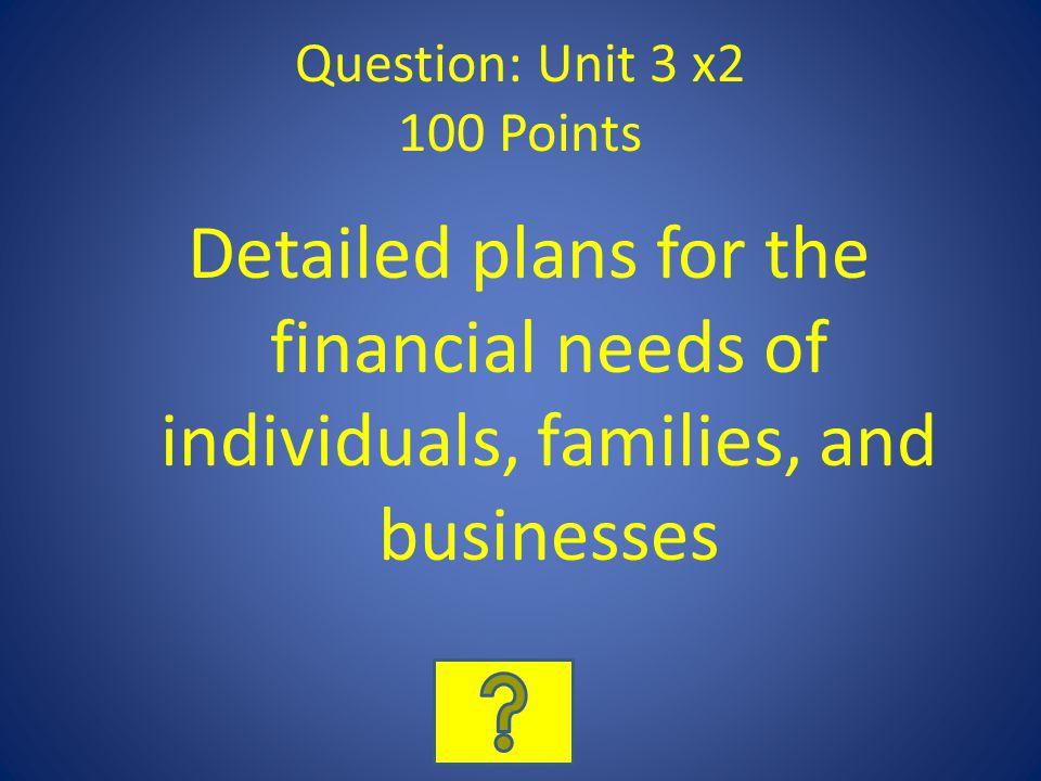 Question: Unit 3 x2 100 Points