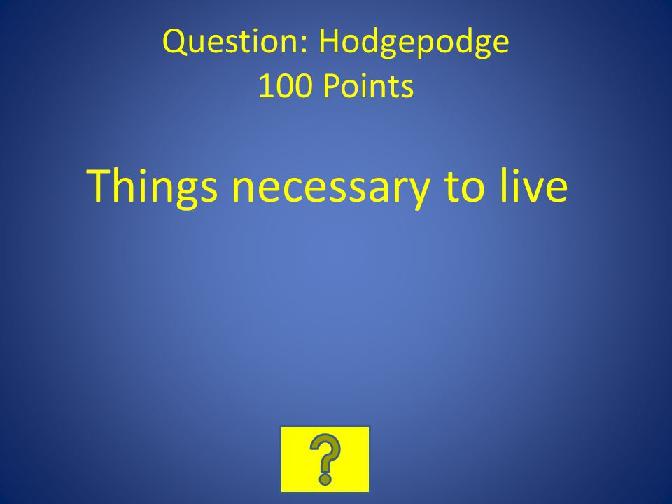 Question: Hodgepodge 100 Points