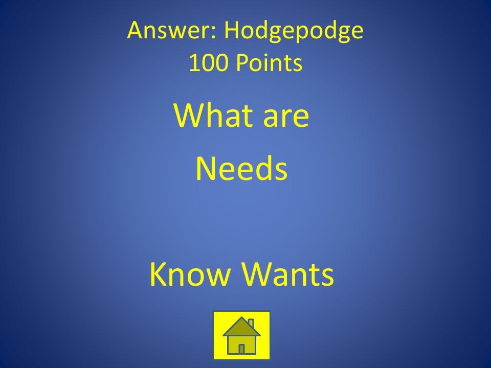 Answer: Hodgepodge 100 Points