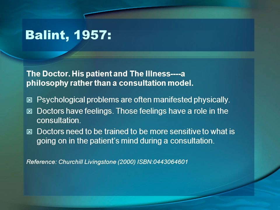 Balint, 1957: The Doctor. His patient and The Illness----a