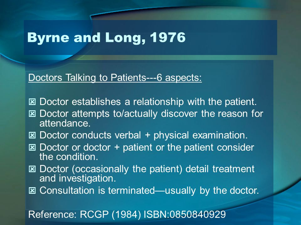 Byrne and Long, 1976 Doctors Talking to Patients---6 aspects: