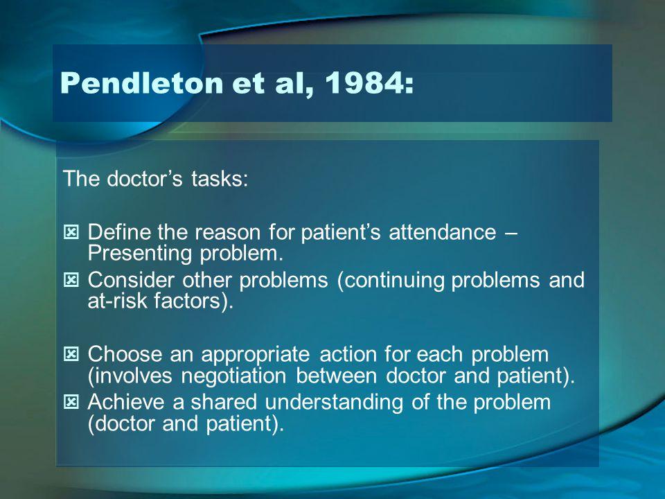 Pendleton et al, 1984: The doctor's tasks:
