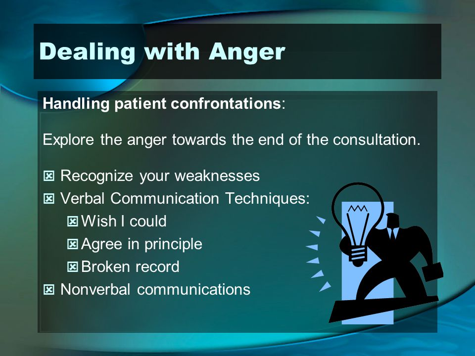 Dealing with Anger Handling patient confrontations: