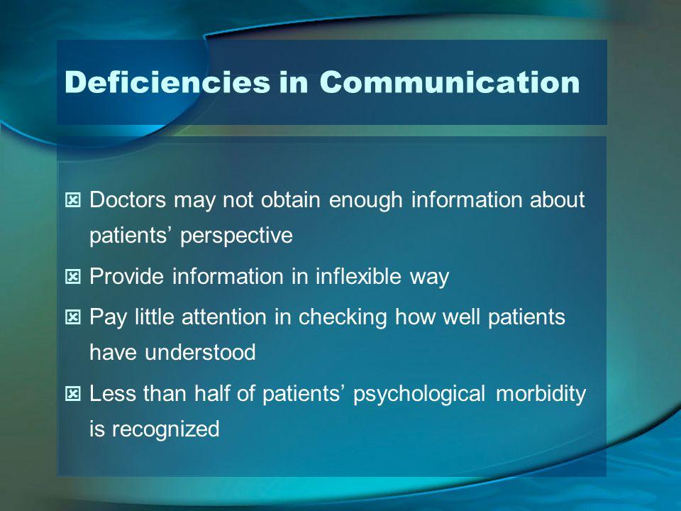 Deficiencies in Communication