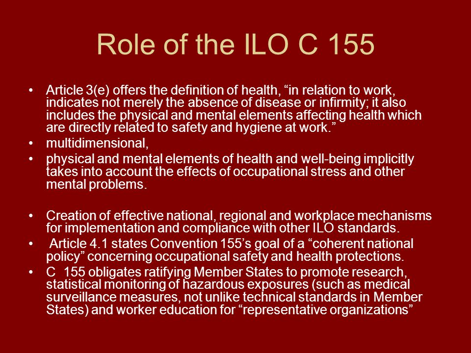 Role of the ILO C 155