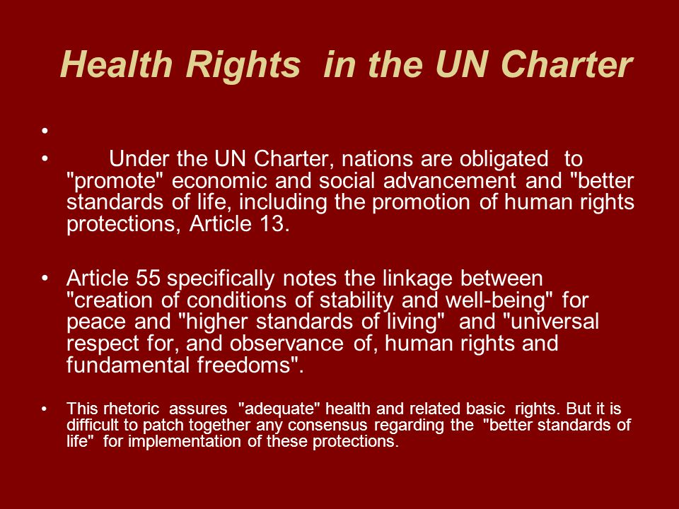 Health Rights in the UN Charter