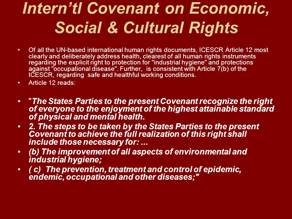 Intern'tl Covenant on Economic, Social & Cultural Rights