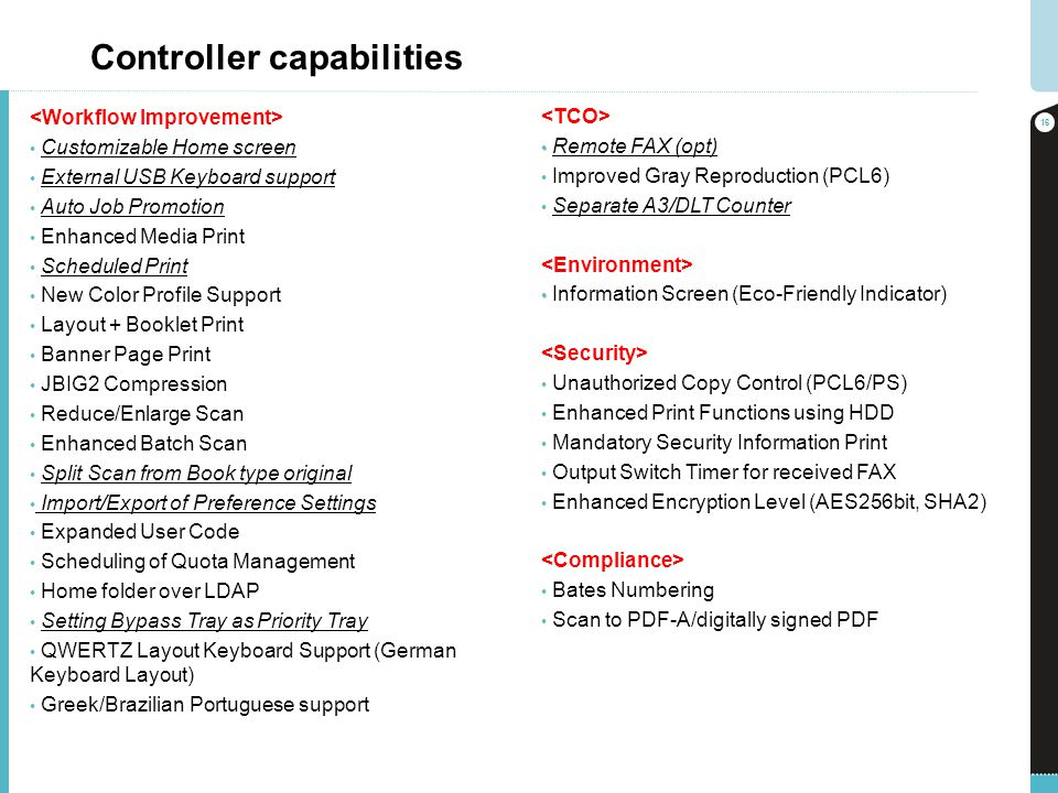 Controller capabilities