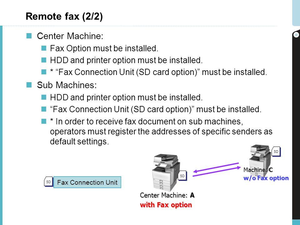Remote fax (2/2) Center Machine: Sub Machines: