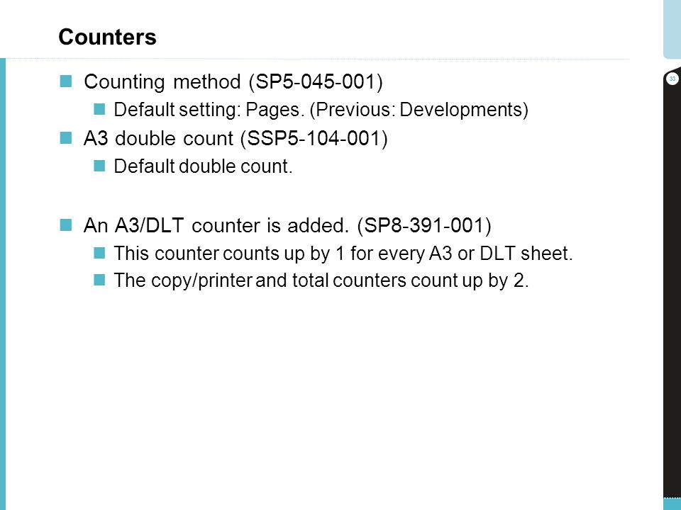 Counters Counting method (SP5-045-001) A3 double count (SSP5-104-001)