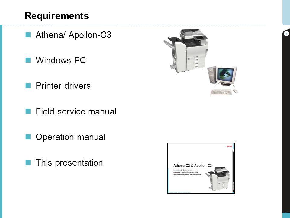 Requirements Athena/ Apollon-C3 Windows PC Printer drivers