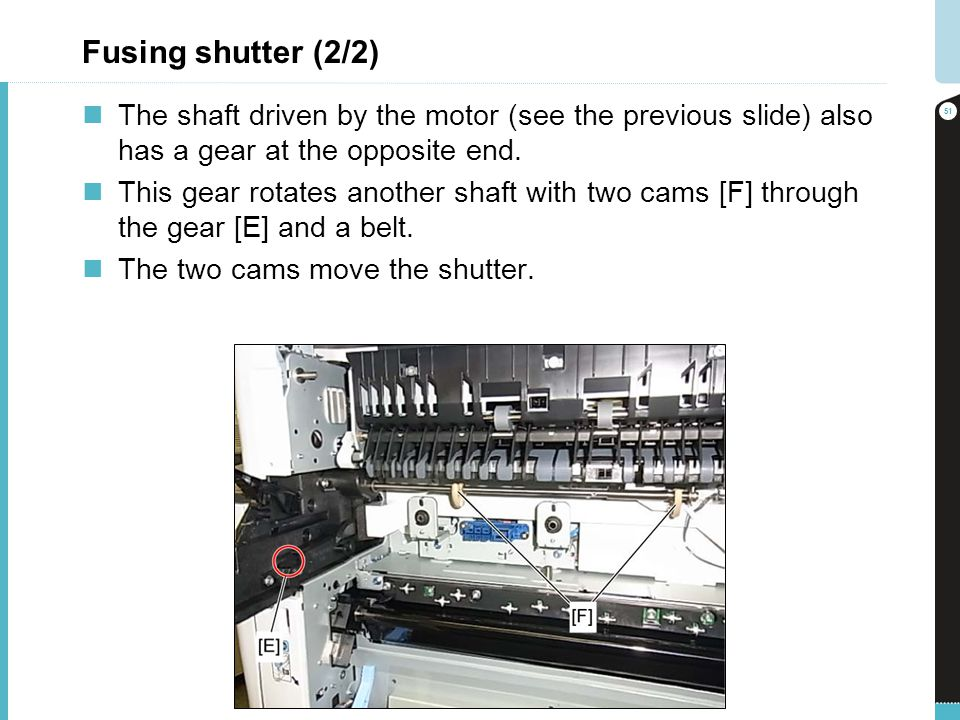 Fusing shutter (2/2) The shaft driven by the motor (see the previous slide) also has a gear at the opposite end.