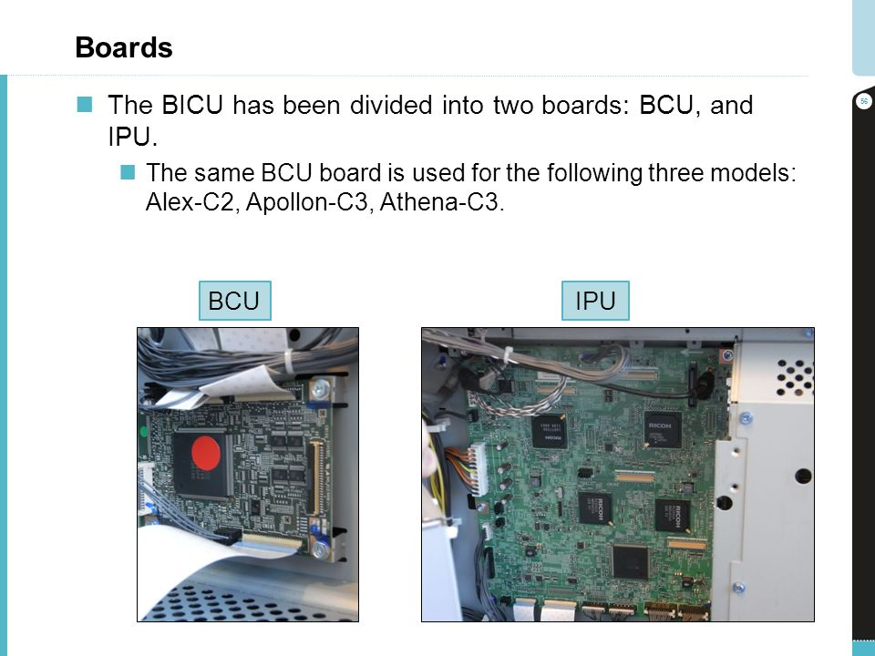 Boards The BICU has been divided into two boards: BCU, and IPU.