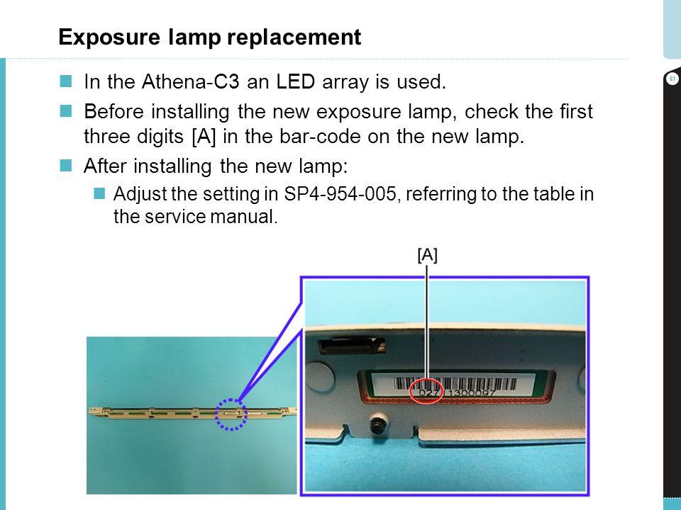 Exposure lamp replacement