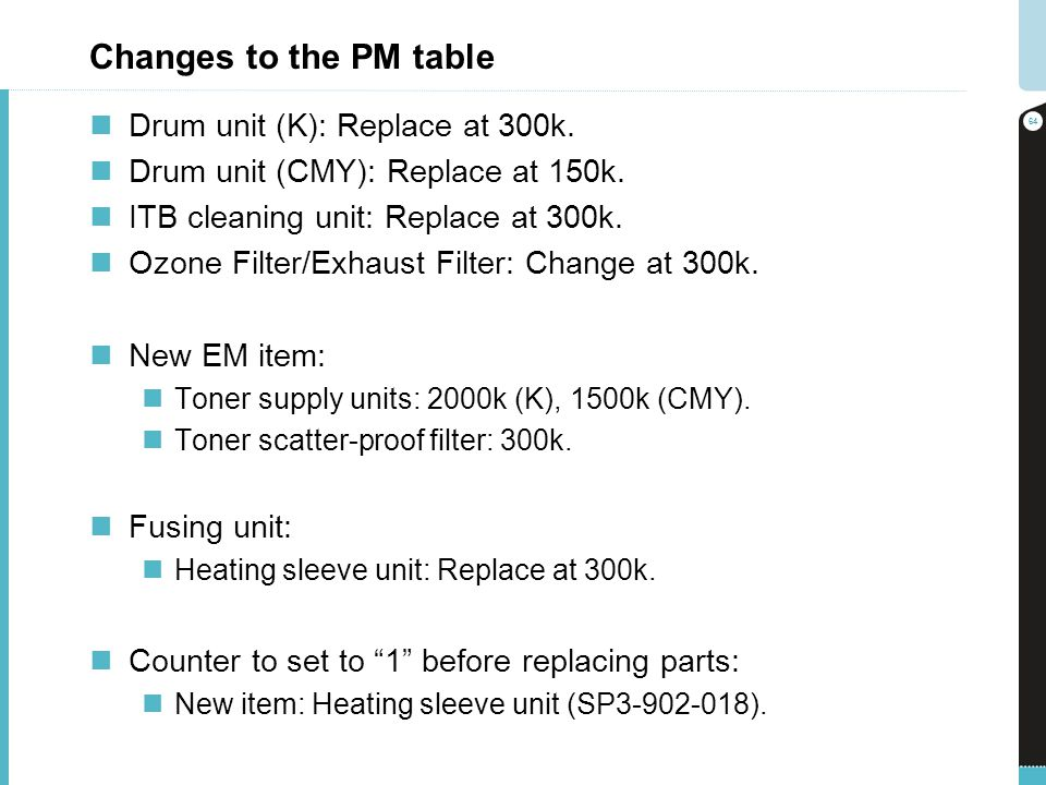 Changes to the PM table Drum unit (K): Replace at 300k.