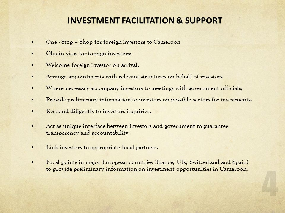 INVESTMENT FACILITATION & SUPPORT