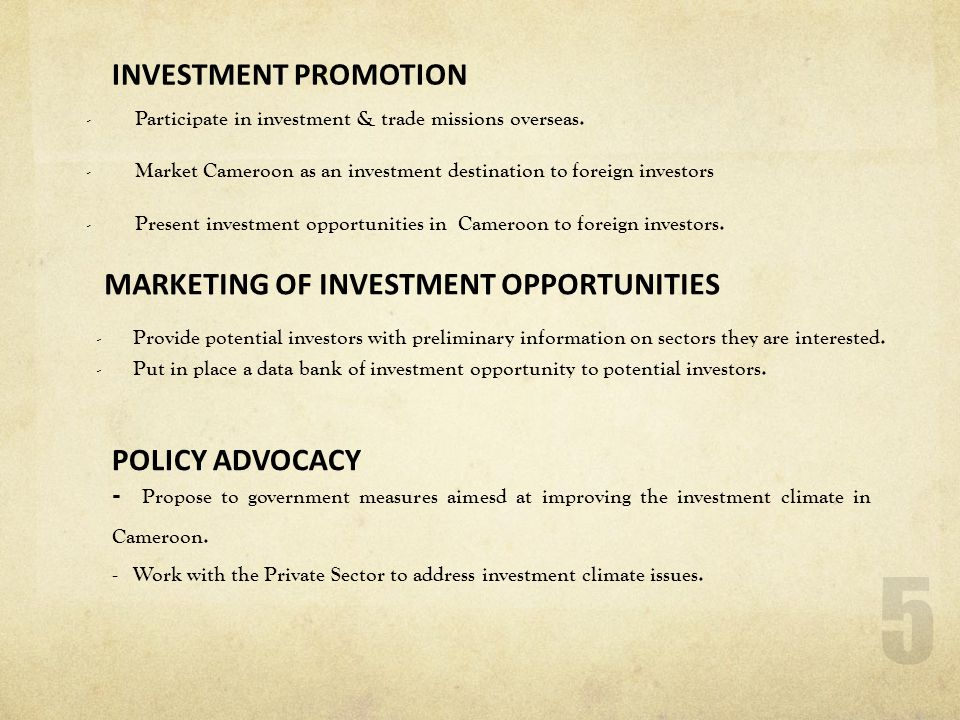 MARKETING OF INVESTMENT OPPORTUNITIES