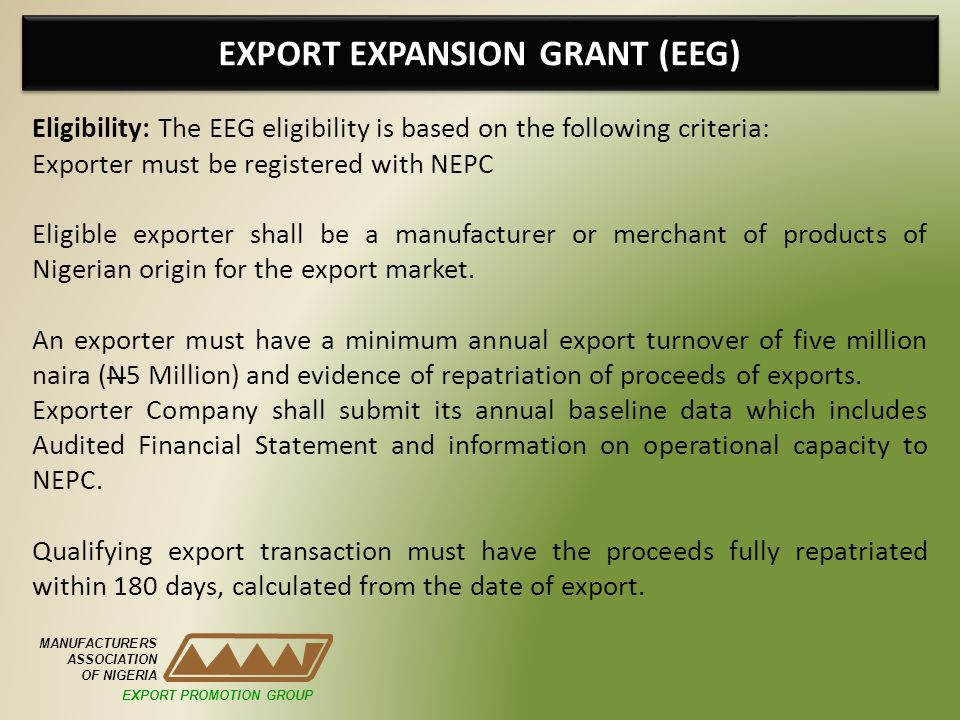 EXPORT EXPANSION GRANT (EEG)
