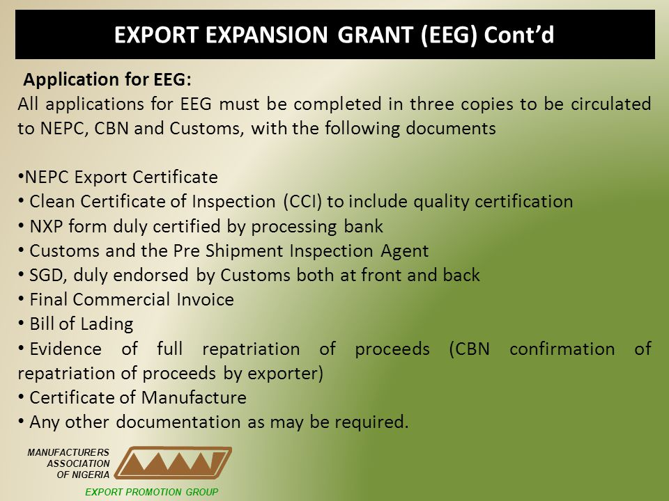 EXPORT EXPANSION GRANT (EEG) Cont'd