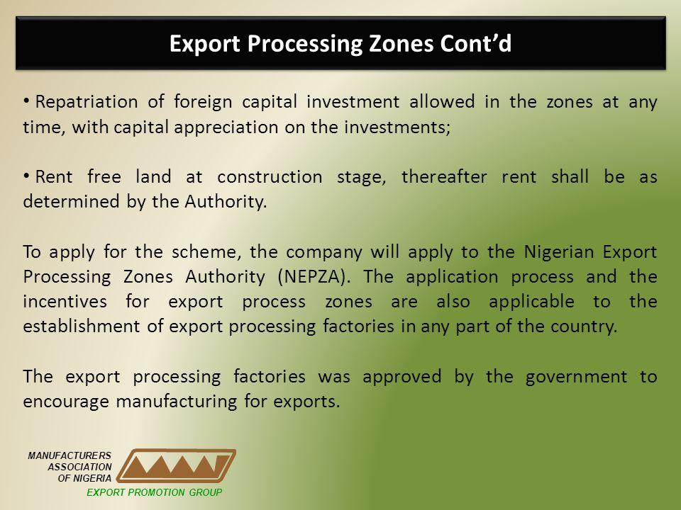 Export Processing Zones Cont'd
