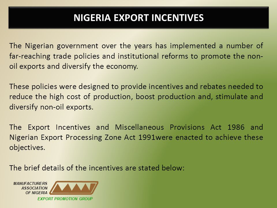 NIGERIA EXPORT INCENTIVES