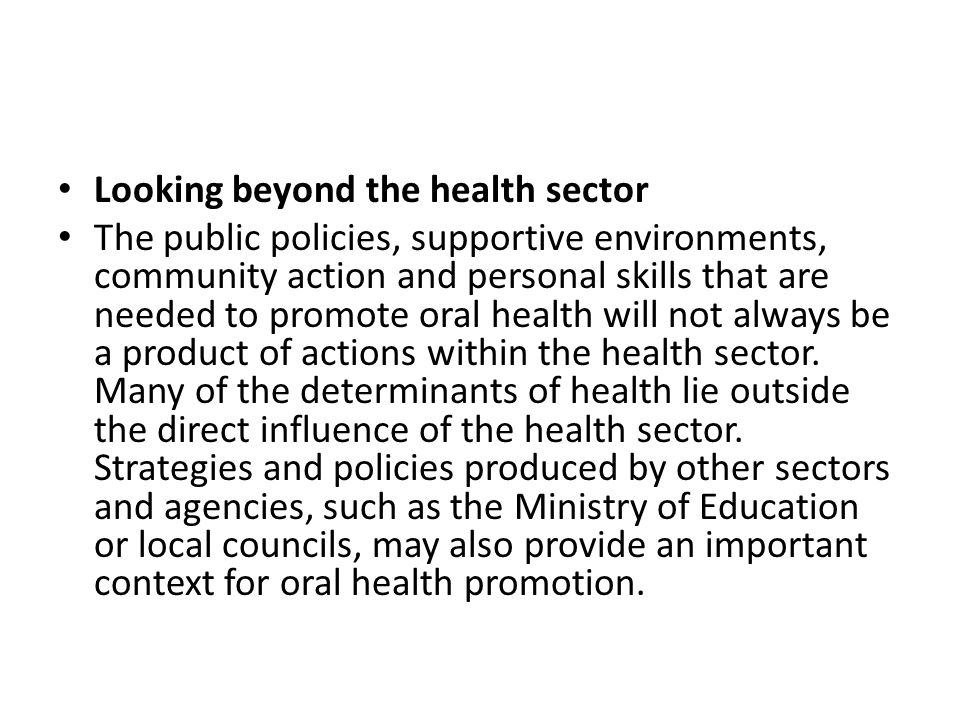 Looking beyond the health sector