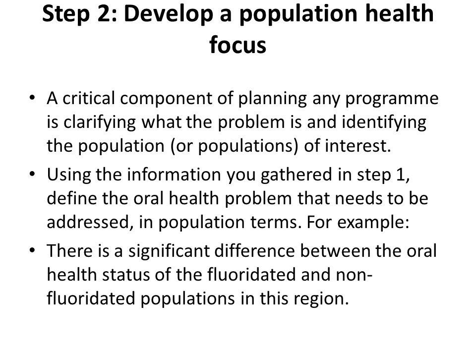 Step 2: Develop a population health focus