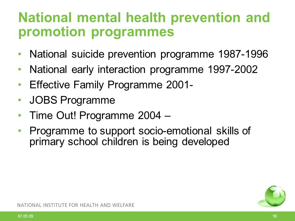 National mental health prevention and promotion programmes