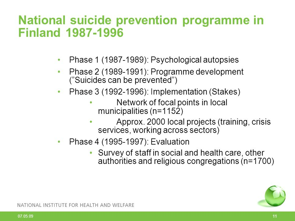 National suicide prevention programme in Finland 1987-1996