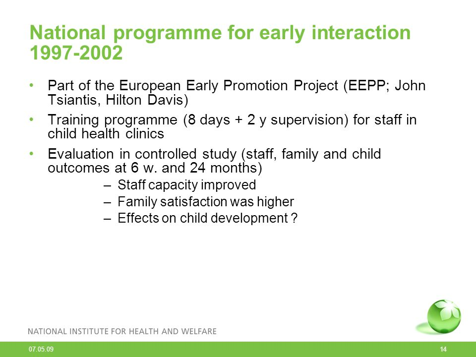 National programme for early interaction 1997-2002