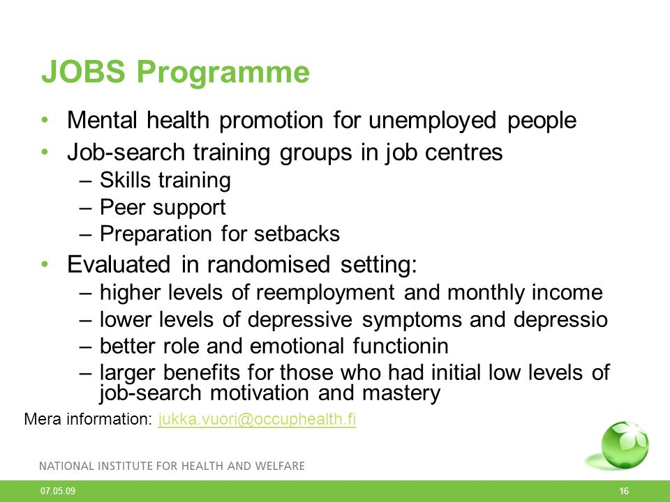 JOBS Programme Mental health promotion for unemployed people