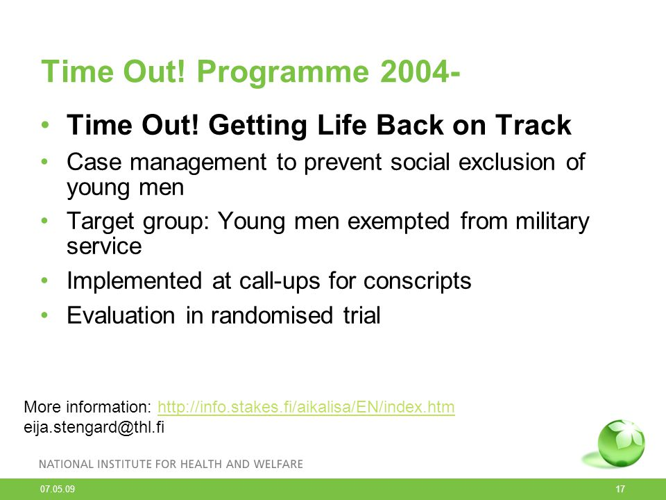 Time Out! Programme 2004- Time Out! Getting Life Back on Track