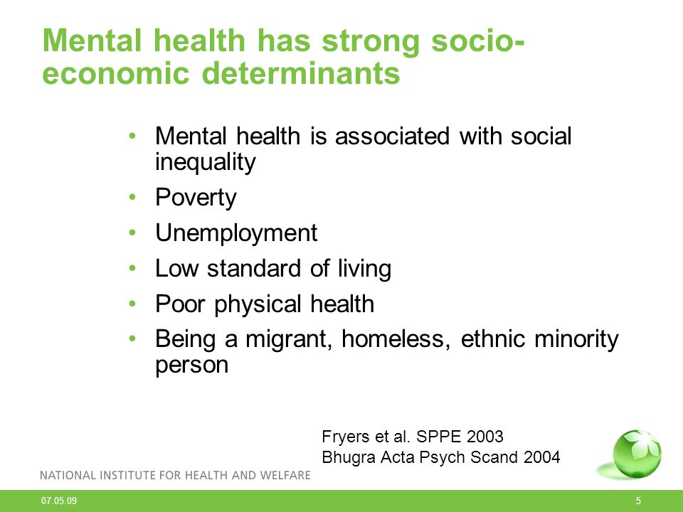 Mental health has strong socio-economic determinants