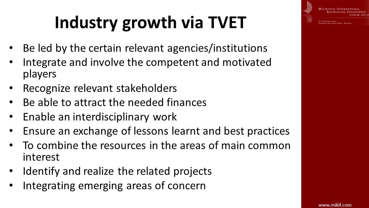 Industry growth via TVET