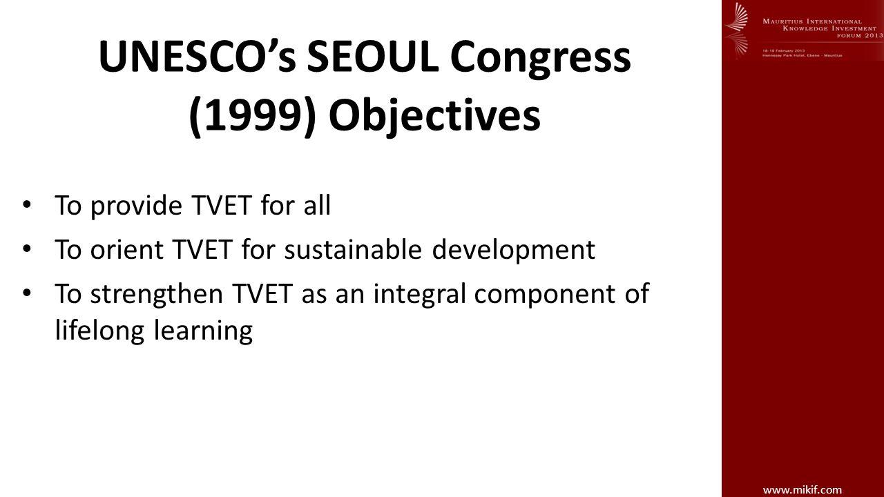 UNESCO's SEOUL Congress (1999) Objectives