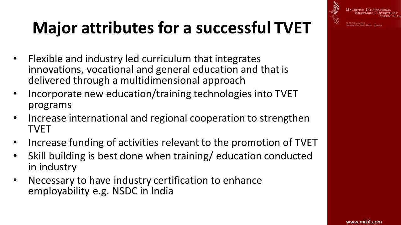 Major attributes for a successful TVET
