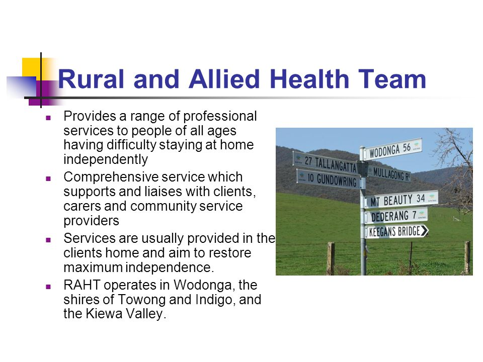 Rural and Allied Health Team