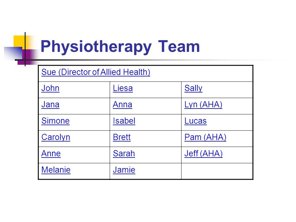 Physiotherapy Team Sue (Director of Allied Health) John Liesa Sally