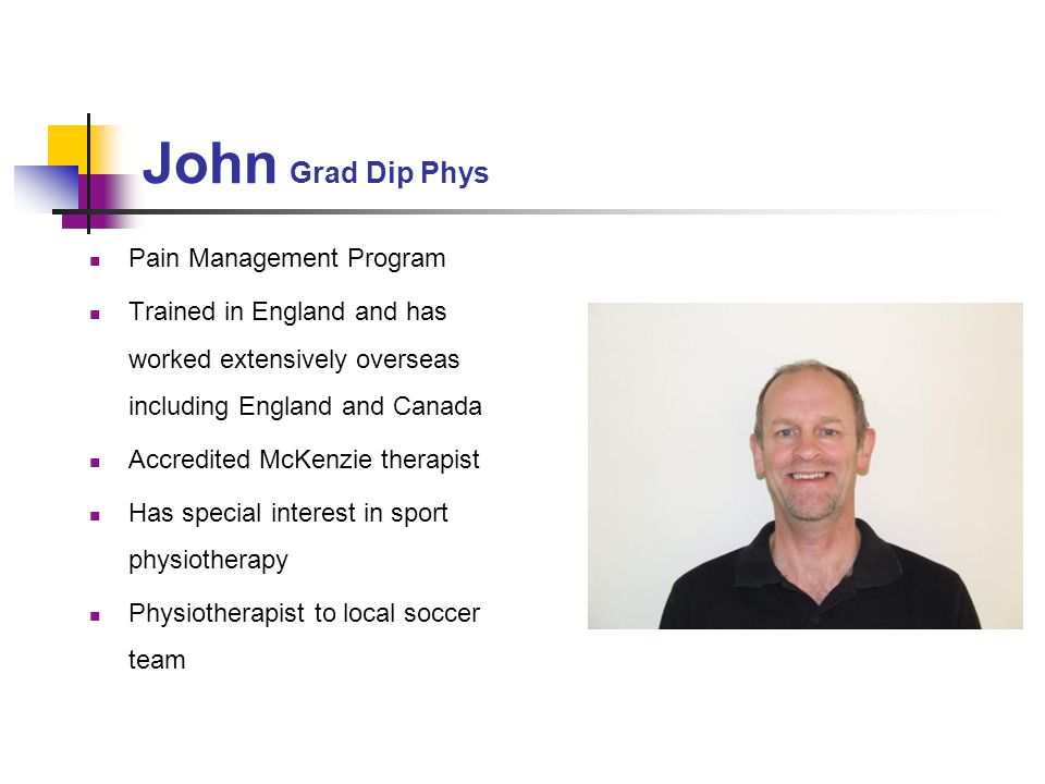 John Grad Dip Phys Pain Management Program
