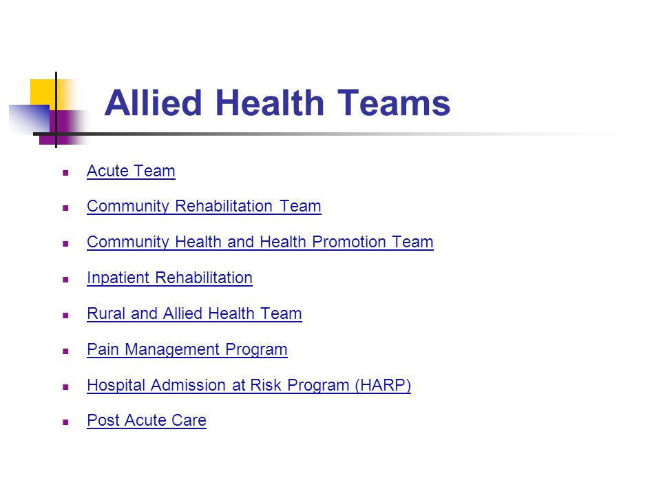 Allied Health Teams Acute Team Community Rehabilitation Team