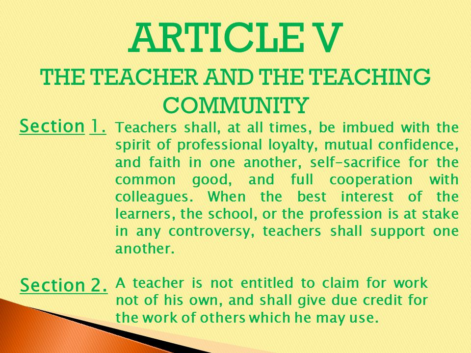 THE TEACHER AND THE TEACHING COMMUNITY