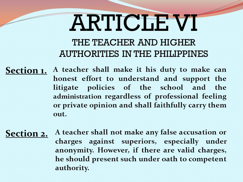 THE TEACHER AND HIGHER AUTHORITIES IN THE PHILIPPINES