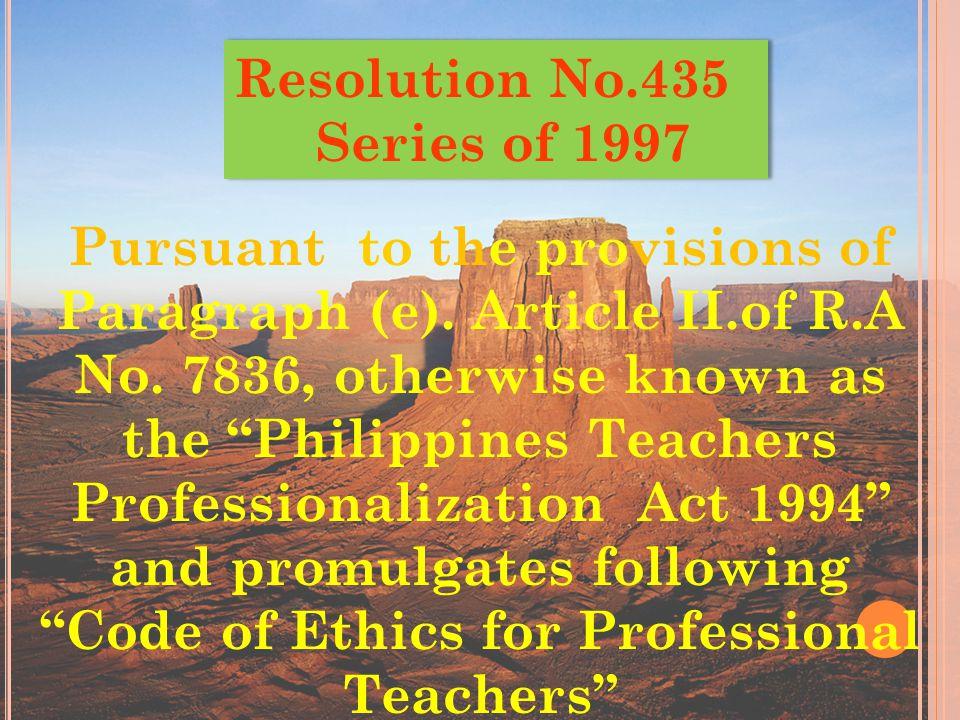 Resolution No.435 Series of 1997.