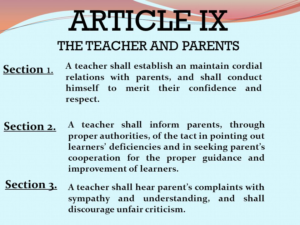 THE TEACHER AND PARENTS
