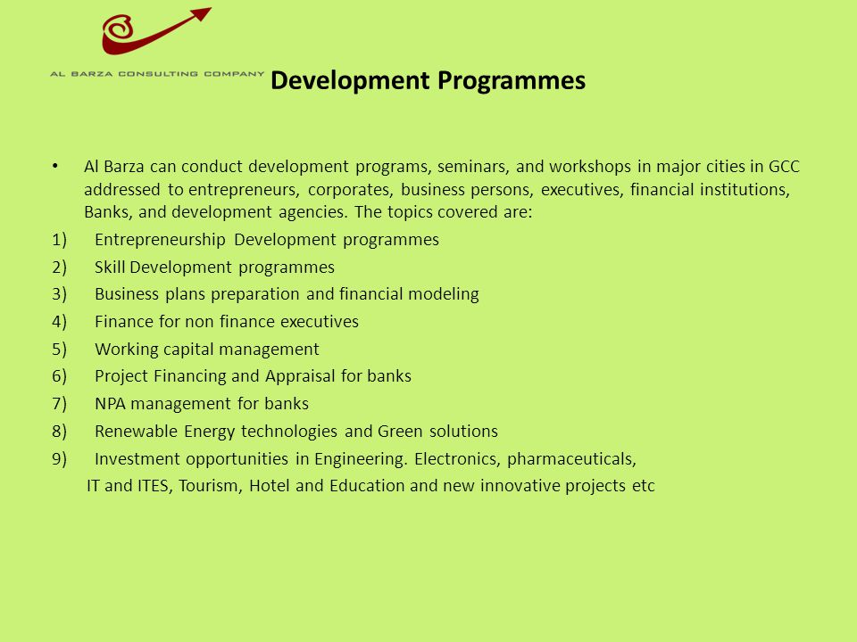 Development Programmes
