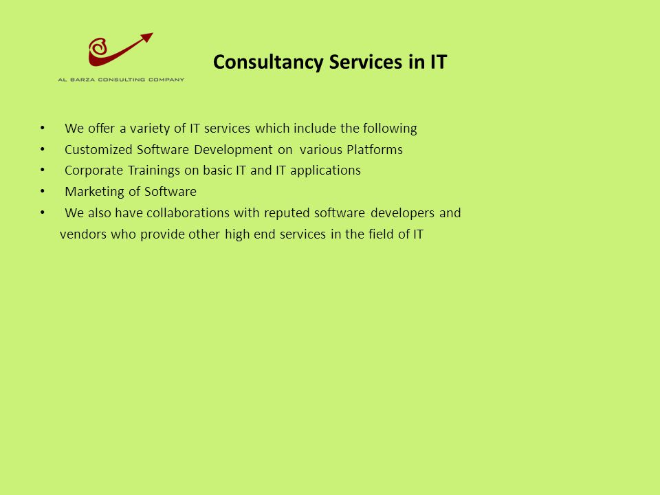 Consultancy Services in IT